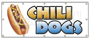 Chili Dogs Banner Sign Hot Dog Cart Stand Grilled Red Hot Wieners Franks