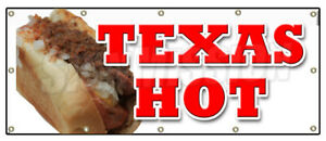 Texas Hot Banner Sign Weiner Hot Dog Sign Chili Frank Grilled Red Grill