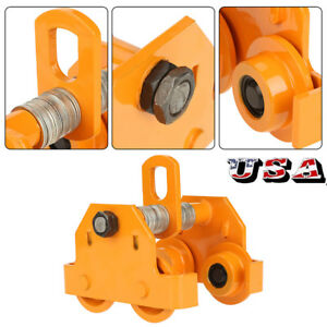 1 Ton Steel I beam Push Beam Track Roller Trolley For Overhead Garage Hoist Us