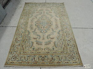 4x7ft Antique Ivory Persian Kashan Wool Rug