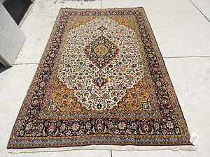 5x8ft Persian Kashan Medallion Wool Rug