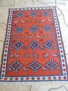 4x6ft Turkish Shirvan Sumak Wool Rug