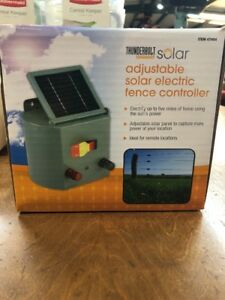 Solar Powered Electric Fence Controller Farm Horses Cattle Adjustable Control