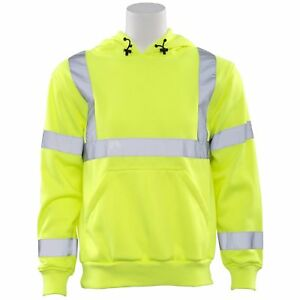 Erb Class 3 Reflective Safety Sweatshirt With Hood Yellow lime