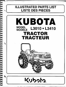 Kubota L3010 L3410 Tractor Illustrated Parts Manual 97898 22000