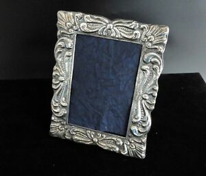Photo Frame Vintage 925 Sterling Silver 925 Table Embossed Ornate Repousse 4 X 3