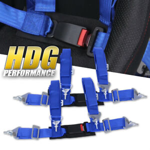 2x Universal 2 Wide Blue 4pt Safety Racing Seatbelt Harness Strap W Buckle