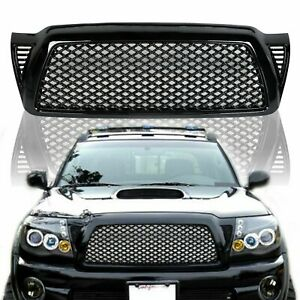 Black Front Bumper Hood Honeycomb Mesh Grill Grille Abs For 05 11 Toyota Tacoma