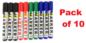 Whiteboard Markers 10 Pens White Board Mixed Colours Easy Wipe Bullet Tip
