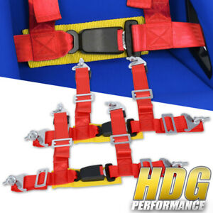 Pair Of 2 Wide Red Gold Seat Belt Harness 4 Point Safety W Buckle Latch