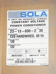 Sola Electric Hevi duty Constant Voltage Transformer 23 13 030 2 Factory Nib
