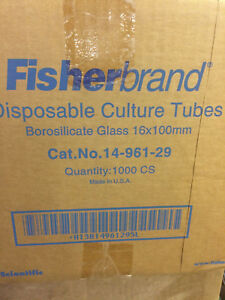 Fisher Disposable Culture Tubes Borosilicate 16x100mm 14 961 29 1000 Case H0818