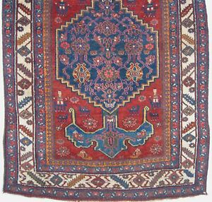 Antique Bijar Rug Kurdish Anchor Medallion Human Figures Red 4 1x6 4679 Bidjar