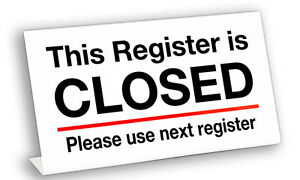 Plastic Register Closed l Sign 20 Pack Free Shipping