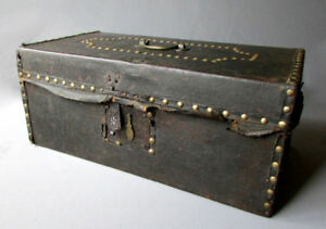 Antique 18th 19th Century Brass Studded Leather Covered Wooden Trunk