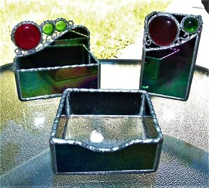 Hand Made Stained Glass Desk Set