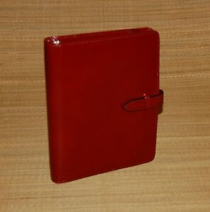 Classic 75 Rings Glossy Red Leather Franklin Covey Tab Planner binder