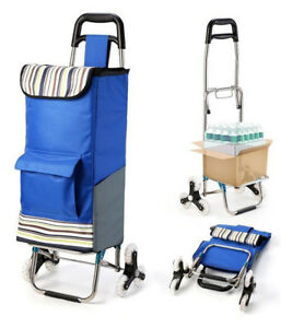 Folding Shopping Cart Laundry Portable Stair Climbing Grocery Utility Wheels