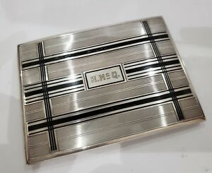 Vintage Antique Solid Sterling Silver Enamel William B Kerr Cigarette Case 128