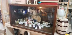 Vintage Oak Counter Top Display Case Sliding Glass Doors