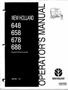 New Holland 648 658 678 688 Round Baler Operator Manual 86637552