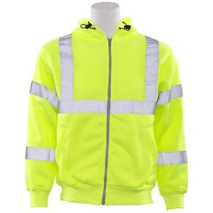 Erb Class 3 Reflective Full Zip Safety Sweatshirt With Hood Yellow lime