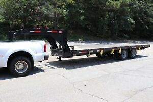 24 X 8 10 Ton Gooseneck Flatbed Trailer 20 000 Lb Weight Capacity 25 9k Gvw