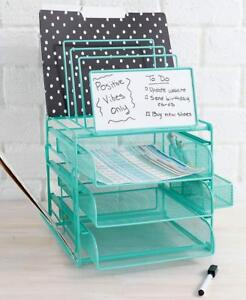 White Board Office Desk Organizer Paper Tray Mail Holder File Drawer Dry Erase
