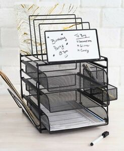 White Board Office Desk Organizer Paper Tray Mail Holder File Drawer School Pens