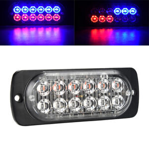 Red Blue 12 Led Car Strobe Light Emergency Police Warning Lamp 19 Flash Model