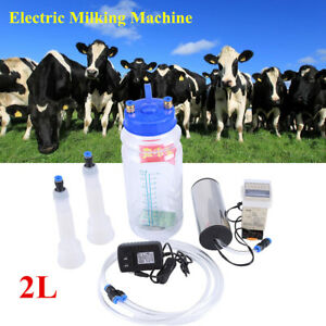 2l Portable Electric Milking Machine Set Farm Cow Sheep Goat Vacuum Milking Us