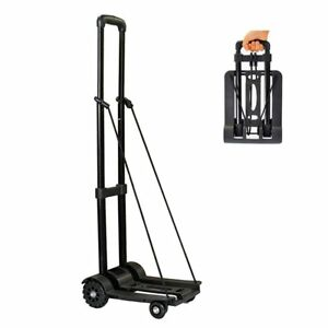 Folding Hand Cart 4 Wheel Lightweight Portable For Shopping Utility Moving Black