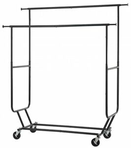Bestoffice Commercial Grade Collapsible Clothing Rolling Double Garment Rack