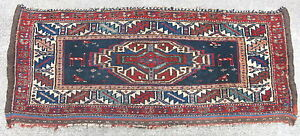 Antique Veramin Mafrash Hand Knotted Wool Rug Iran Bag Face 36x15in 12270
