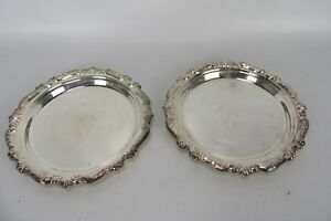 Vintage Sheridan Silver Plated Set Of 2 Small Platters Mcs Cherry Point Military