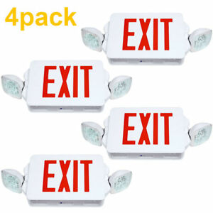 4pack Led Exit Sign Emergency Lighting Red Letter Compact Combo Ul 924