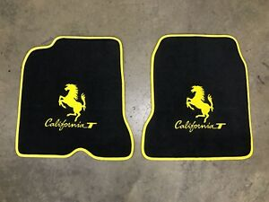 Ferrari California T Custom Car Floor Mats Yellow Logo Edging Top Quality