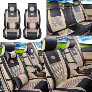 Pu Leather cooling Mesh Car Seat Cover Front rear 5 Seats Cushion W pillows Cg