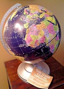 Vintage 12 Replogle Updatable Globemaster Globe On Stand Navy Waters