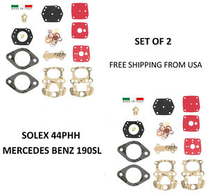 X2 pair Solex 44phh Carburetor Rebuild Kit For Mercedes Benz 190sl 190 Sl