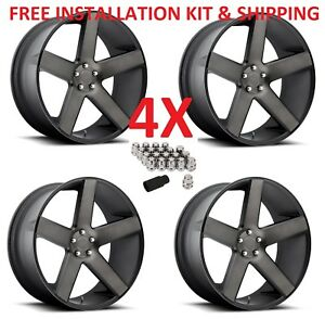 24 24x10 6x139 7 6x5 5 Wheels Rims Dub S116 Baller Black Tint Giovanna Set 4