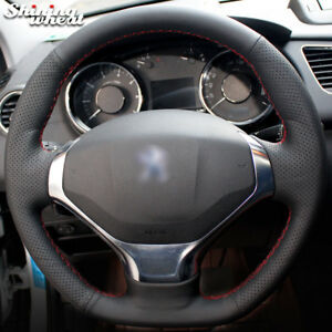 Bannis Black Leather Car Steering Wheel Cover For Peugeot 3008 2013 2015