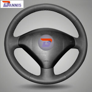 Bannis Black Leather Diy Hand Stitched Steering Wheel Cover For Peugeot 307 Car