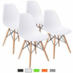 Set Of 4 Mid Century Modern Eames Style Dining Chair W Wood Legs Molded Shell
