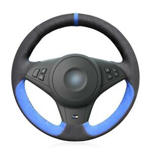 Mewant Blue Black Suede Car Steering Wheel Cover For Bmw E60 530i E63 E64 635d