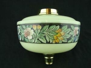 Gorgeous Antique Pale Green Glass Oil Lamp Font Stylised Foliate Decoration
