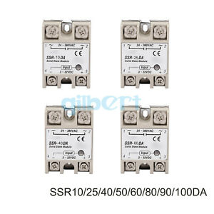 Ssr Single phase Solid State Relay 10 100a Dc ac Input 3 32vdc Load 24 380vac