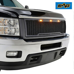 11 14 Chevy Silverado 2500hd 3500hd Grille Abs Honeycomb Upper W Led Lights