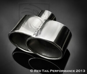 Exhaust Muffler Tip Dual Fused Oval 7 35 X 3 25 W 2 25 Id Porsche Style