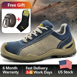 Safetoe Blue Leather Safety Shoes Steel Toe Breathable Extra Wide Work Us Size